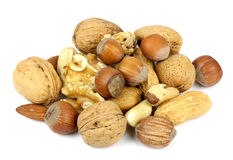 Walnuts and peanuts hazelnuts and almonds Royalty Free Stock Photos