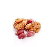 Walnuts and peanuts isolated on a white background Stock Images