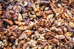 Walnuts. Peeled on a table Royalty Free Stock Image