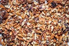 Walnuts. Peeled on a table Stock Photos