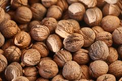 Walnuts in a pile stock photos