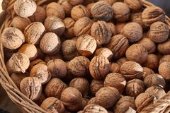 Walnuts in a pile royalty free stock photos