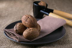 Walnuts on the plate Royalty Free Stock Images