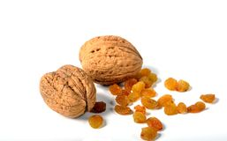 Walnuts and raisins Stock Image