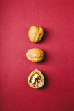 Walnuts on red backgruond Royalty Free Stock Images