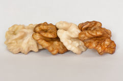 Walnuts row Royalty Free Stock Images
