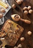 Walnuts on rustic background stock photos