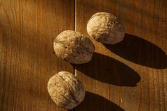 Walnuts on a rustic old wooden table. Three walnuts on a wooden table. Side view. Walnuts on a rustic old wooden table. Three walnuts on a wooden table Royalty Free Stock Photography