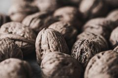 Walnuts. On an rustic table Royalty Free Stock Image