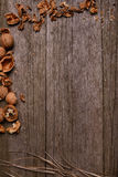 Walnuts on rustic wooden board background with straw copy space for text Royalty Free Stock Image