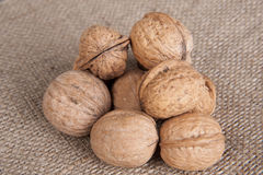 Walnuts on sack cloth Stock Photo