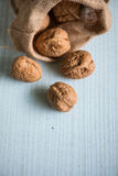 Walnuts in sack on white table. Walnuts in sack on white wooden table Royalty Free Stock Photos