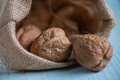 Walnuts in sack on white table. Walnuts in sack on white wooden table Royalty Free Stock Images