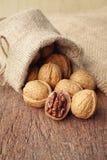 Walnuts in sackcloth bag Stock Photos