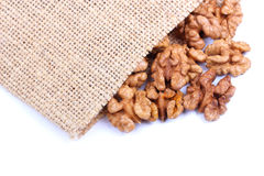 Walnuts on sacking Stock Photo