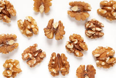 Walnuts scattered Stock Photo