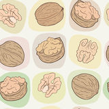 Walnuts seamless vector pattern Royalty Free Stock Photography