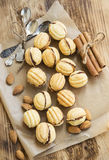 Walnuts Shape Cookies with Chocolate Filling Royalty Free Stock Images