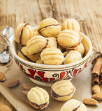 Walnuts Shape Cookies with Chocolate Filling Royalty Free Stock Photography