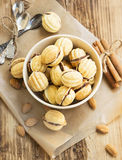 Walnuts Shape Cookies with Chocolate Filling Stock Images
