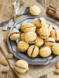 Walnuts Shape Cookies with Chocolate Filling Stock Photo