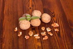 Walnuts with shell and green leaves Stock Photos