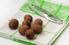 Walnuts in shell with nutcracker on the dish towel Stock Images