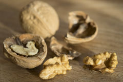 Walnuts with shell and shelled Stock Photo