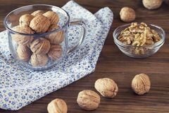 Walnuts in shells Stock Image