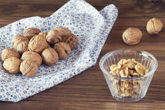Walnuts in shells Royalty Free Stock Photos