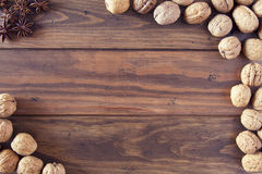 Walnuts in shells Stock Images