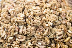 Walnuts sold in fruit ant vegetable market. Walnuts Help Lower Cholesterol. Good grains eat healthy stock photo