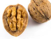 Walnuts. Some open and complete walnuts Stock Image