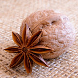 Walnuts and Star Anise on Burlap Background Royalty Free Stock Photography