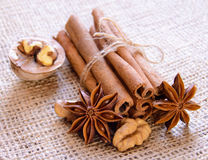Walnuts, Star Anise and Cinnamon on the Burlap Background Stock Photo