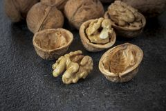 Walnuts on stone background royalty free stock images
