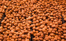 Walnuts on store shelves Royalty Free Stock Photos