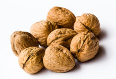 Walnuts. Studio shot of a group of walnuts on a white background Stock Photo