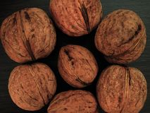 Walnuts on a table in contrast colors stock image