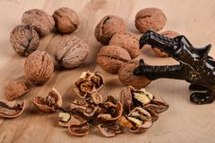 Walnuts on table Royalty Free Stock Images