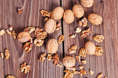 Walnuts on a table Royalty Free Stock Image