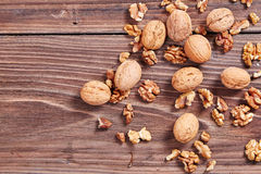 Walnuts on a table Royalty Free Stock Photo