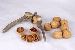 Walnuts and tool Stock Photo