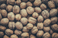 Walnuts, top view. Retro toned. Royalty Free Stock Image