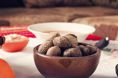 Walnuts in Traditional Bulgarian Christmas Eve Table Setup Royalty Free Stock Photos