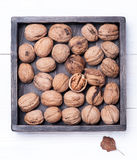 Walnuts in vintage box Stock Photography