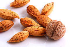 Walnuts vs Almonds. Walnuts and Almonds. Close-up Stock Images