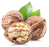Walnuts and walnut kernel. Royalty Free Stock Photos