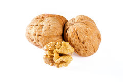 Walnuts and walnut kernel Royalty Free Stock Photography