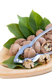 Walnuts and walnut leaf Nutcracker. Stock Image
